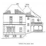 Pałac w Wojsławicach na pocz.XX w. Rys. K. Eysymontt na podst. planów z 1953 r.